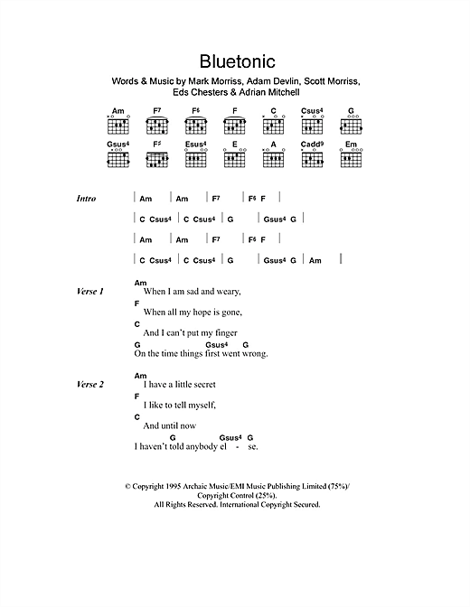 Bluetonic Sheet Music