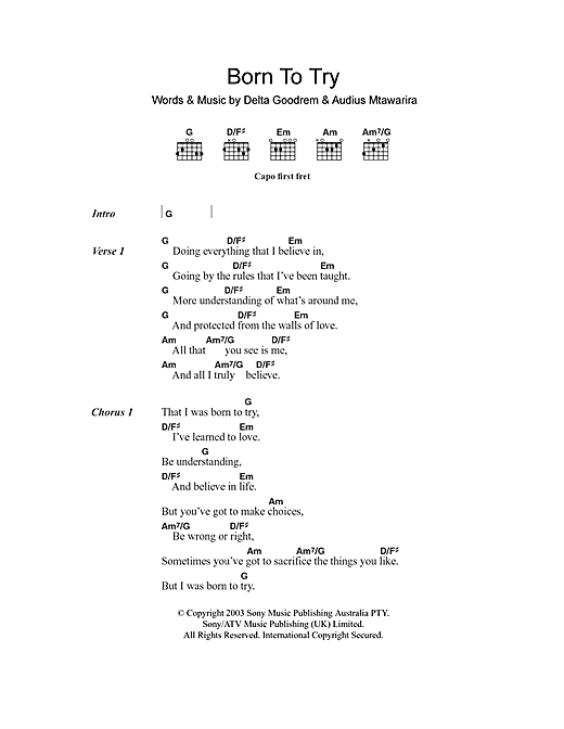 Born To Try sheet music by Delta Goodrem (Lyrics & Chords – 101167)