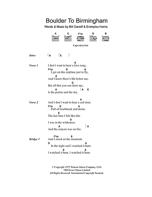 Boulder To Birmingham sheet music by Emmylou Harris ... Emmylou Harris Song List