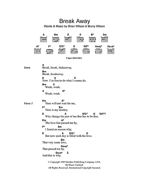 Break Away Sheet Music By The Beach Boys Lyrics Chords 101175