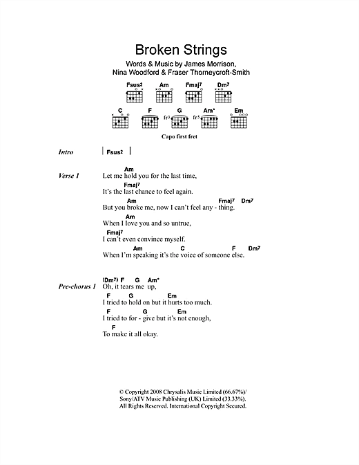 Broken Strings (feat. Nelly Furtado) (Guitar Chords/Lyrics)