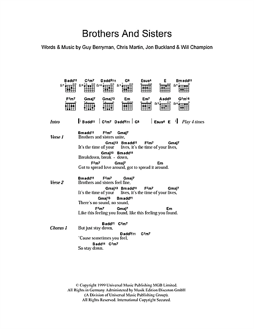 Brothers And Sisters Sheet Music