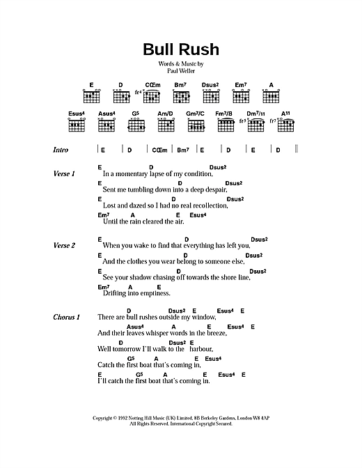 Bull-Rush (Guitar Chords/Lyrics)