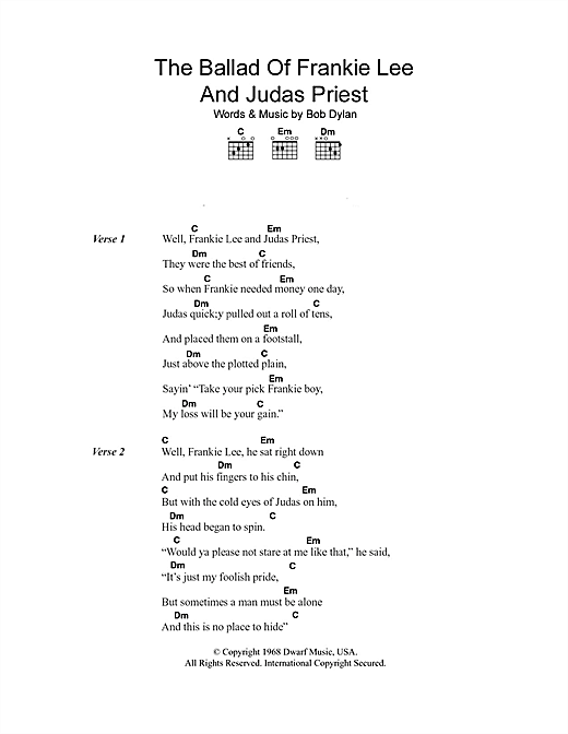 The Ballad Of Frankie Lee And Judas Priest (Guitar Chords/Lyrics)