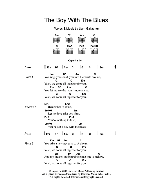 The Boy With The Blues (Guitar Chords/Lyrics)