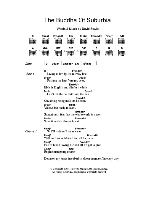 The Buddha Of Suburbia Sheet Music