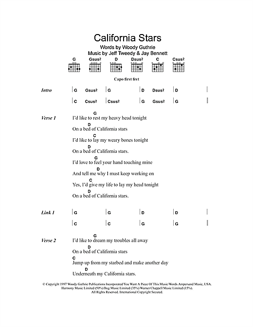 California Stars Sheet Music By Wilco Billy Bragg Lyrics Chords