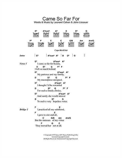 Came So Far For Beauty (Guitar Chords/Lyrics)