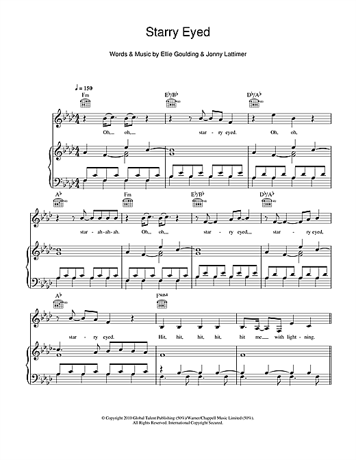 Starry Eyed Sheet Music By Ellie Goulding Piano Vocal Guitar
