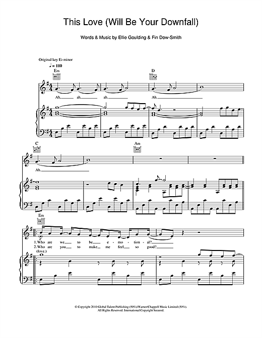 This Love (Will Be Your Downfall) Sheet Music