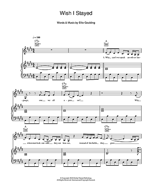 Partition piano Wish I Stayed de Ellie Goulding - Piano Voix Guitare