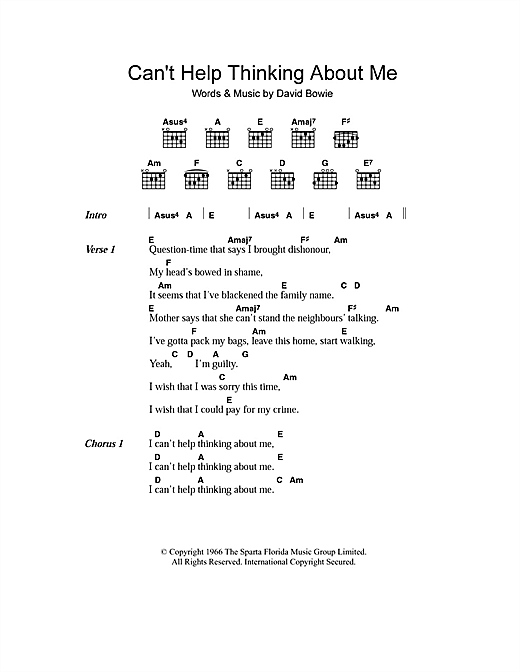 Can't Help Thinking About Me (Guitar Chords/Lyrics)