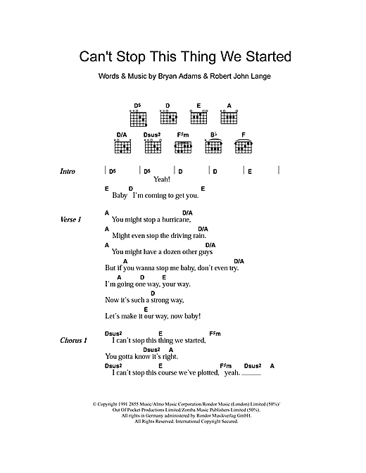 Can't Stop This Thing We Started Sheet Music