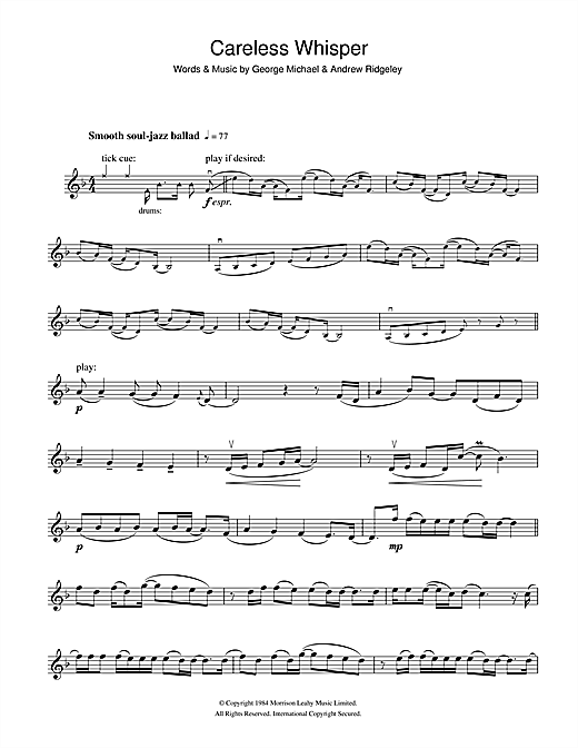 Careless Whisper sheet music by George Michael (Violin – 101263)