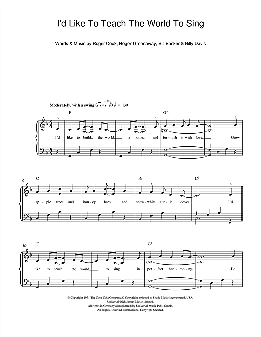 Partition piano I'd Like To Teach The World To Sing de The New Seekers - Piano Facile
