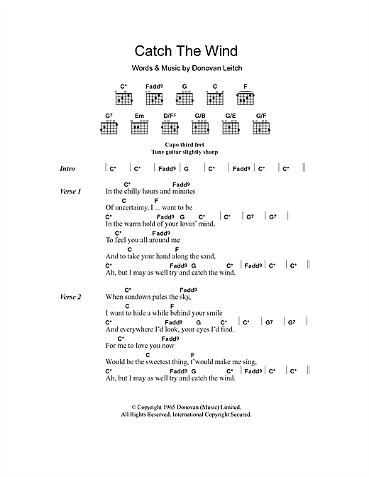 Catch The Wind (Guitar Chords/Lyrics)