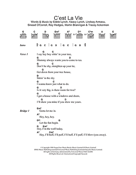 C'est La Vie (Guitar Chords/Lyrics)