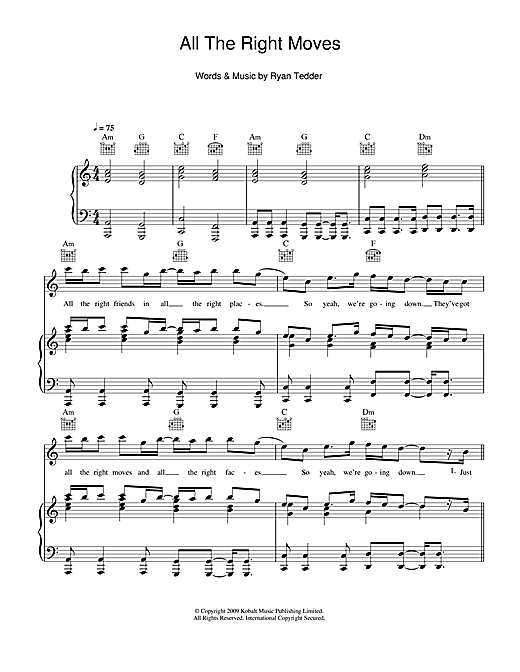 All The Right Moves Sheet Music