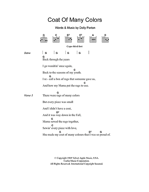 Coat Of Many Colors sheet music by Dolly Parton (Lyrics & Chords ...