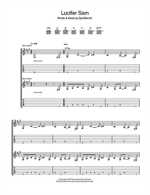 Tablature guitare Lucifer Sam de Pink Floyd - Tablature Guitare