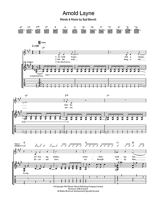 Tablature guitare Arnold Layne de Pink Floyd - Tablature Guitare