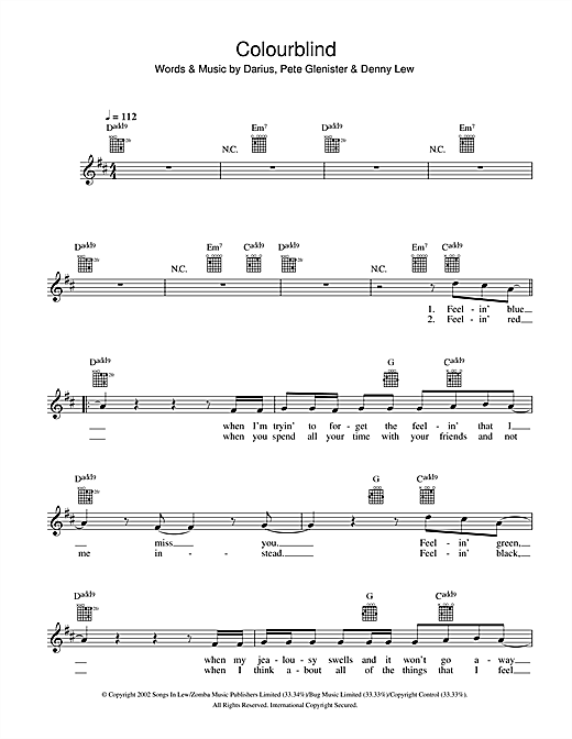 Colourblind Sheet Music