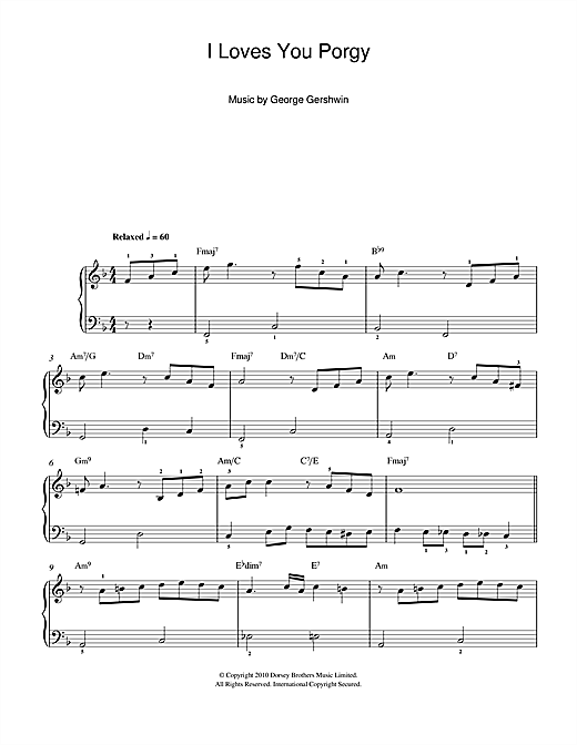 Partition piano I Loves You, Porgy (From Porgy And Bess) de George Gershwin - Piano Facile