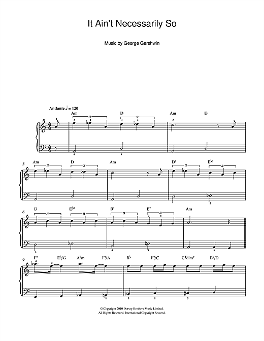 Partition piano It Ain't Necessarily So (From Porgy And Bess) de George Gershwin - Piano Facile