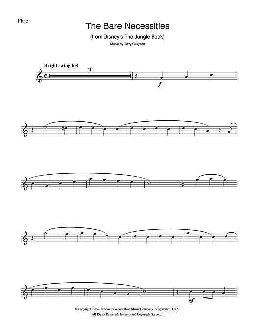 Partition flûte The Bare Necessities (from Disney's The Jungle Book) de Terry Gilkyson - Flute traversiere