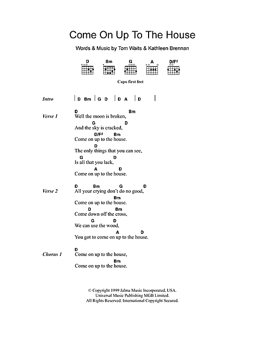 Come On Up To The House (Guitar Chords/Lyrics)