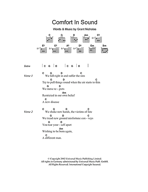 Comfort In Sound Sheet Music