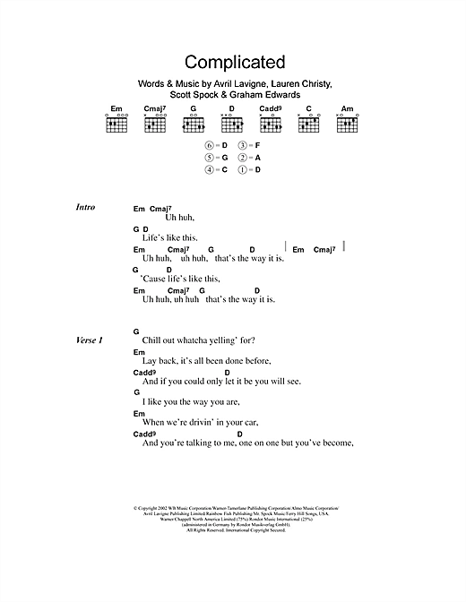 Complicated Sheet Music By Avril Lavigne Lyrics Chords 101386