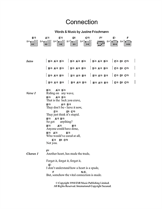 Connection sheet music by Elastica (Lyrics & Chords – 101389)