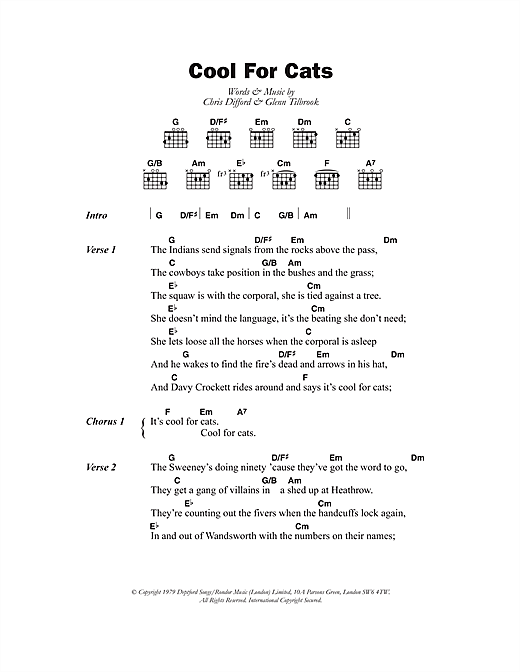 Cool For Cats (Guitar Chords/Lyrics)