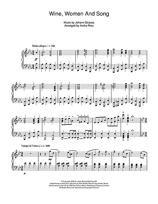 Partition piano Wine, Women And Song de Johann Strauss - Piano Solo