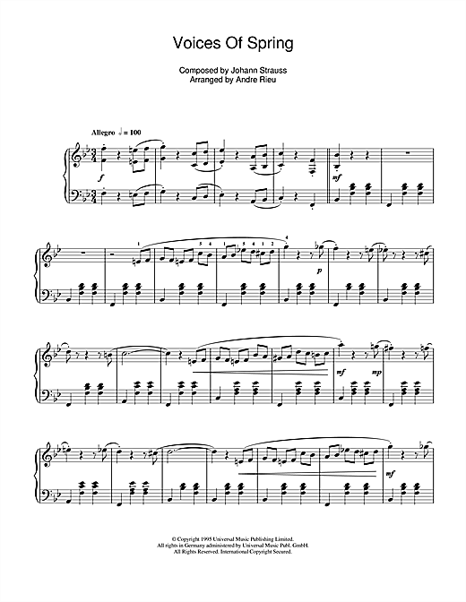 Partition piano Voices Of Spring de Johann Strauss - Piano Solo