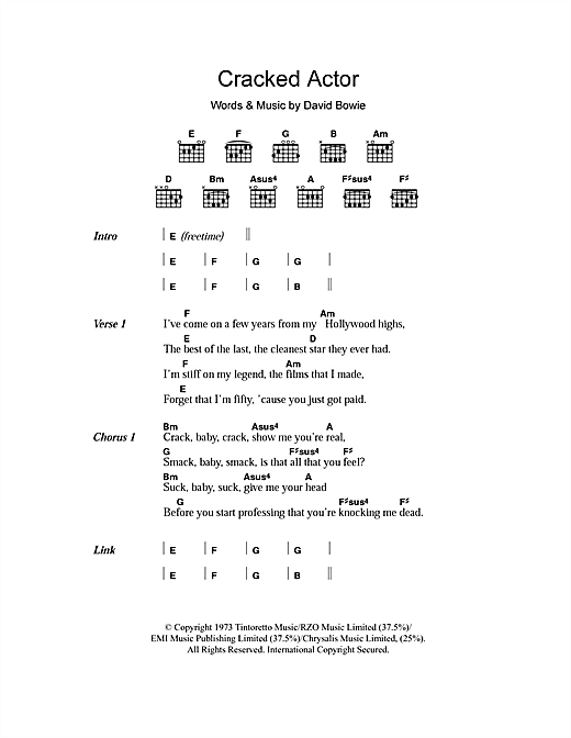 Cracked Actor (Guitar Chords/Lyrics)