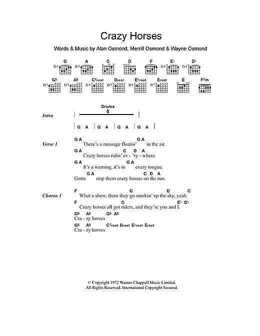 Crazy Horses (Guitar Chords/Lyrics)