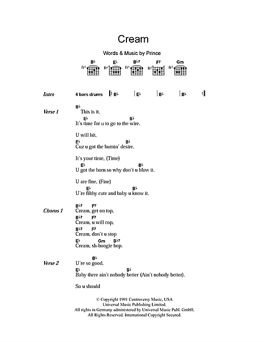 Cream (Guitar Chords/Lyrics)