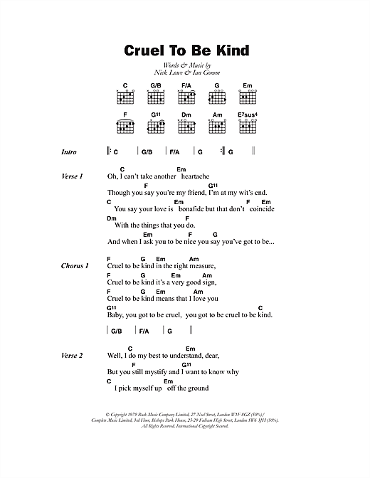 Cruel To Be Kind Sheet Music