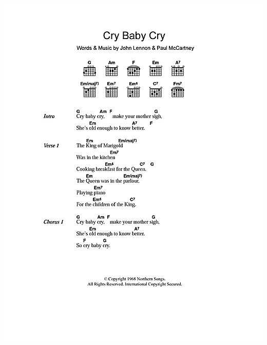 Cry Baby Cry Sheet Music