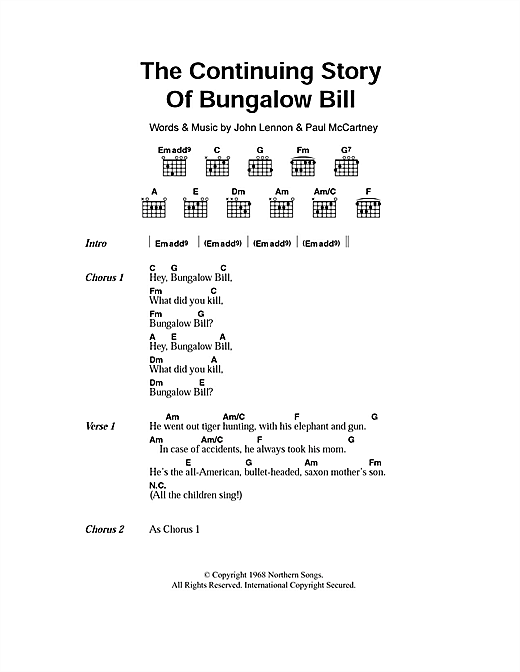 The Continuing Story Of Bungalow Bill Sheet Music