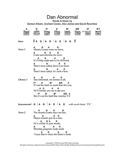 Dan Abnormal (Guitar Chords/Lyrics)