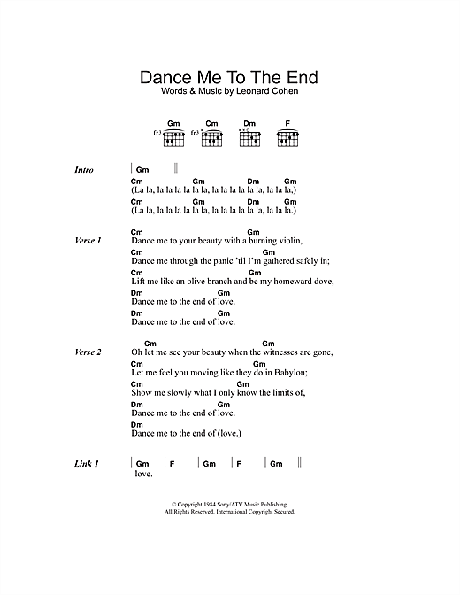 Dance Me To The End Of Love (Guitar Chords/Lyrics)