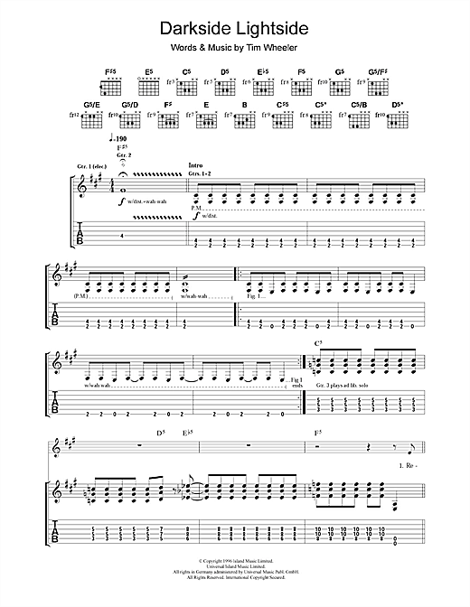Tablature guitare Darkside Lightside de Ash - Tablature Guitare