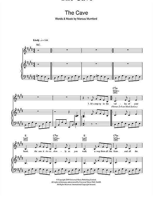 The Cave sheet music by Mumford u0026 Sons (Piano, Vocal u0026 Guitar (Right-Hand Melody) u2013 101484)