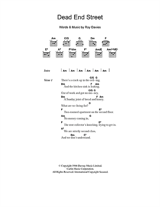Dead End Street Sheet Music By The Kinks Lyrics Chords 101480