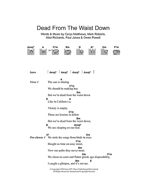 Dead From The Waist Down Sheet Music