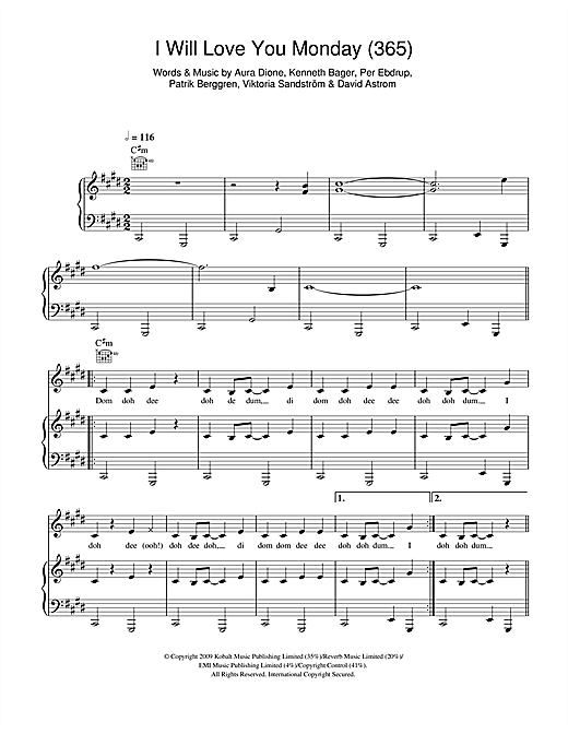 I Will Love You Monday (365) Sheet Music