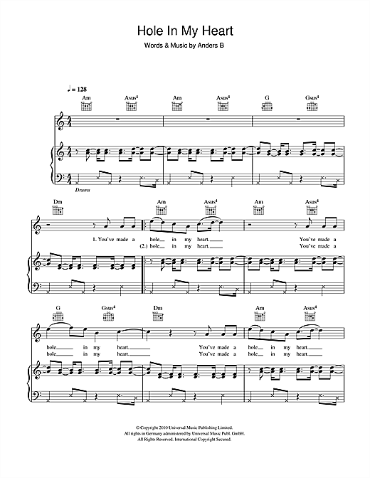 Hole In My Heart Sheet Music
